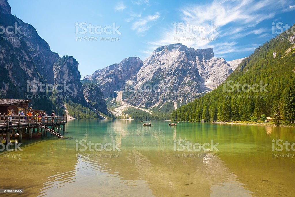 Lake Braies in Italy stock photo