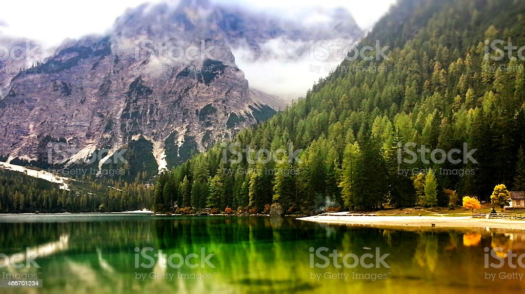 Lake Braies in South Tyrol in autumn stock photo