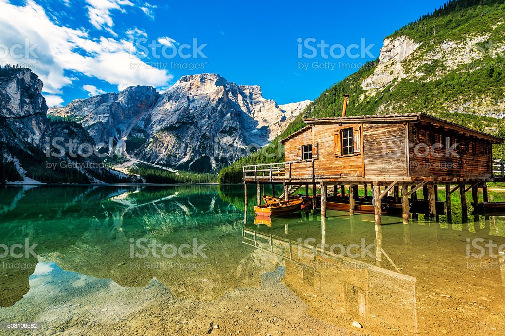 Lake Braies (Pragsersee) in South Tyrol in Summer stock photo