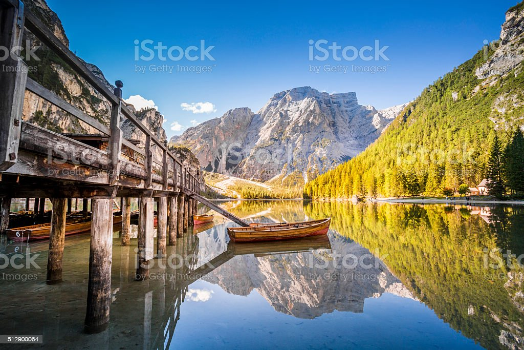 Lake Braies - Lago di Braies. Dolomiti Mountains, Italy stock photo
