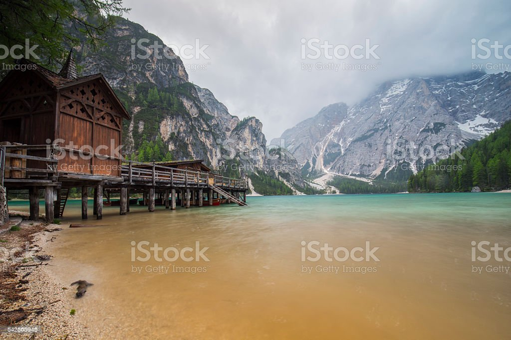 Lago di Braies (Pragser Wildsee) stock photo