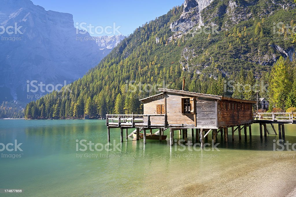 Lago di Braies - Pragser Wildsee stock photo