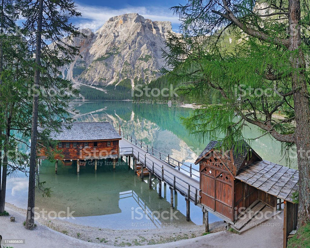Lago di Braies, Pragser Wildsee (Dolomiti, Italia) stock photo