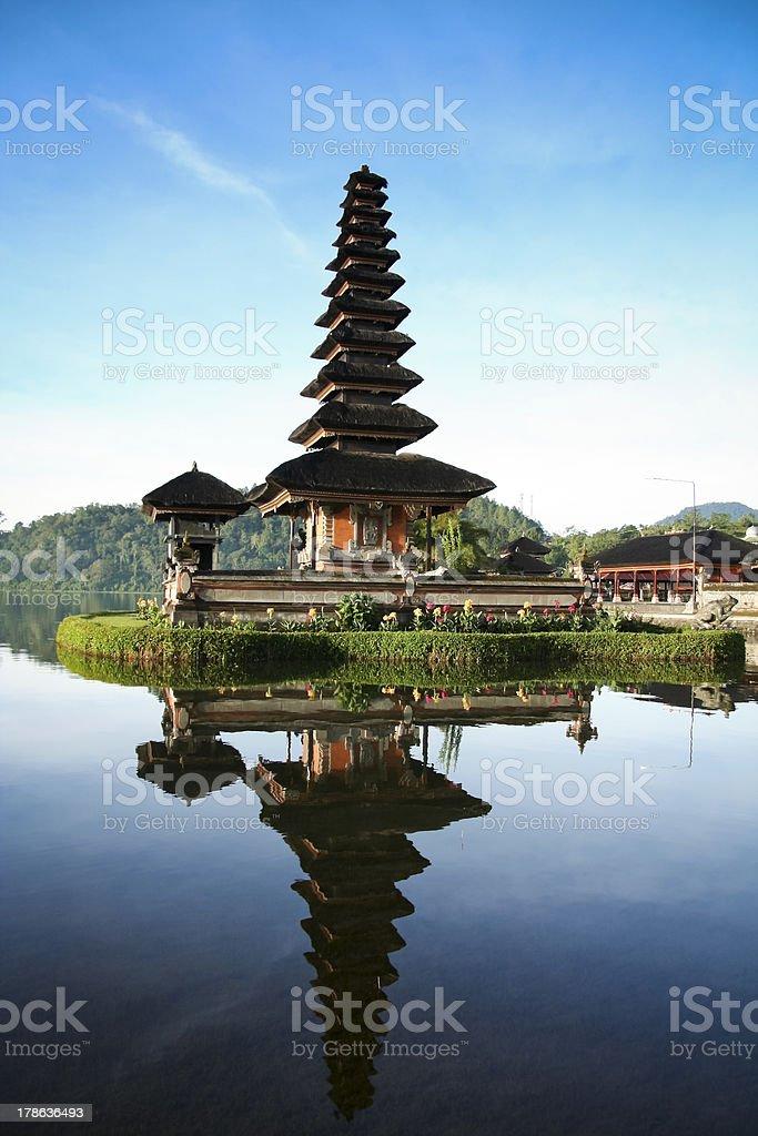 Lake Bratan Temple Bali Blue Dawn Sky royalty-free stock photo