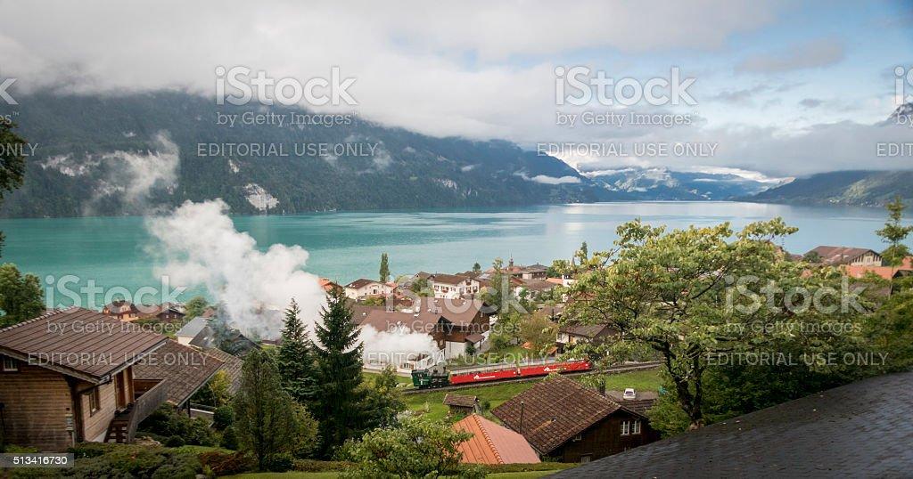 Lake Brienz and Steam Train stock photo