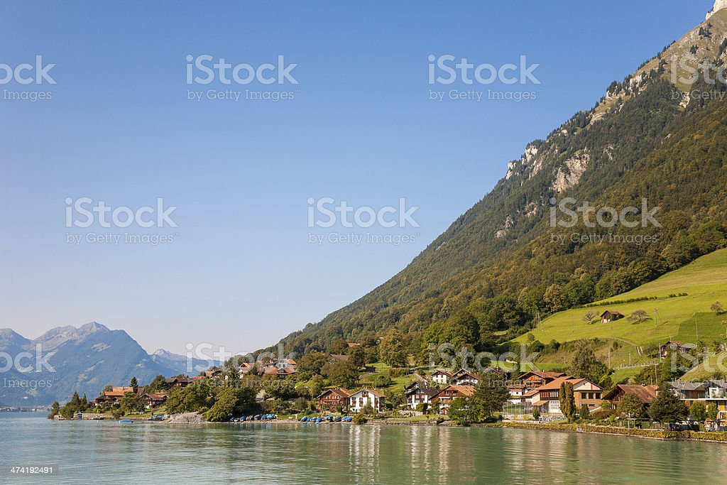 Lake Brienz, village in Switzerland stock photo
