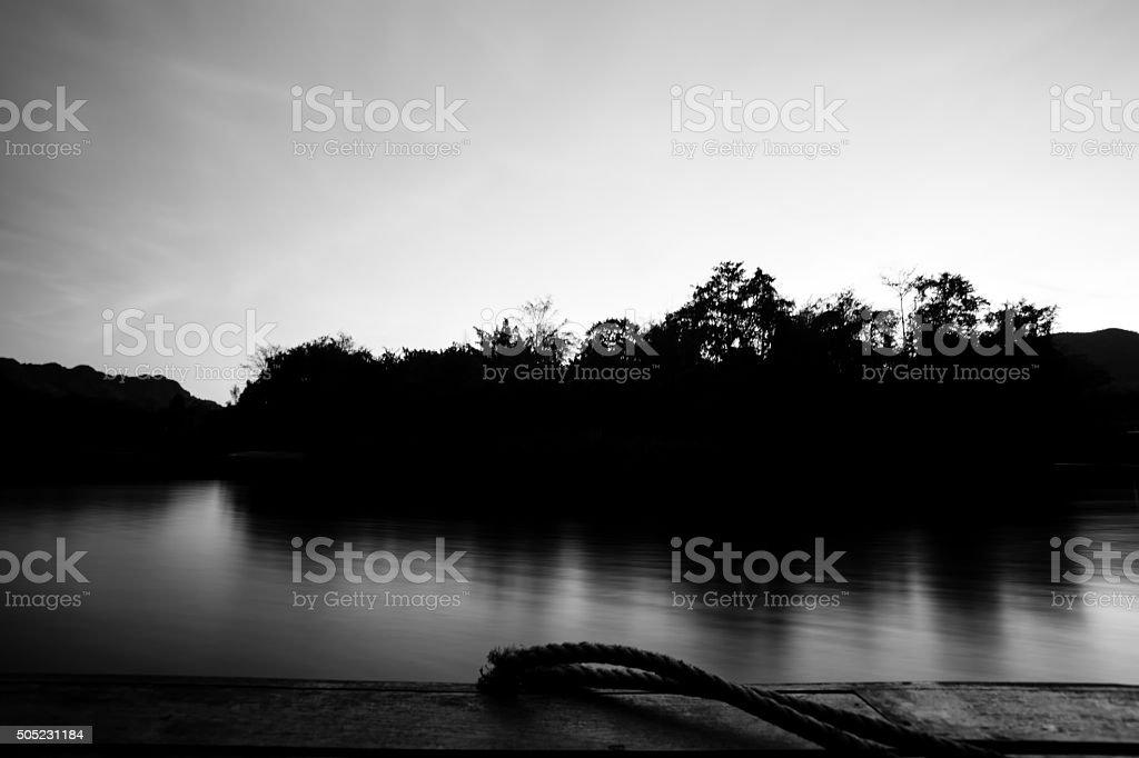 Lake Brunner at Sunset in black and white stock photo