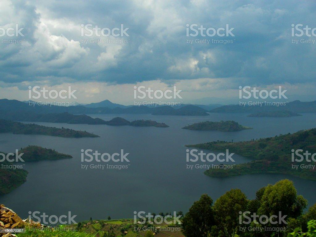 Lake Bulera near Musanze or Ruhengeri Rwanda and Cloudscape stock photo