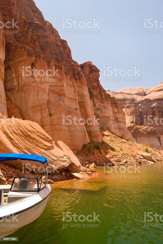 Lake, Canyon & Speedboat royalty-free stock photo