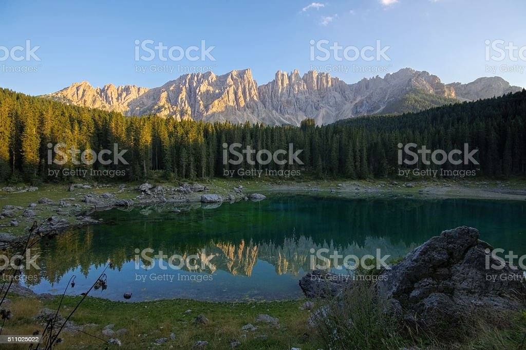Lago di Carezza in Alps stock photo