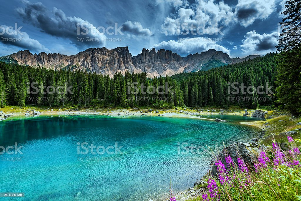 Lago di Carezza- Karersee, Trentino-Alto Adige, Italy stock photo
