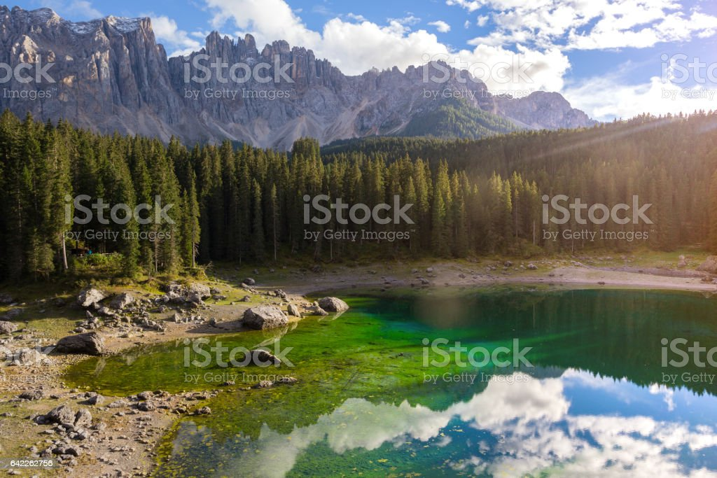 Lago di Carezza stock photo