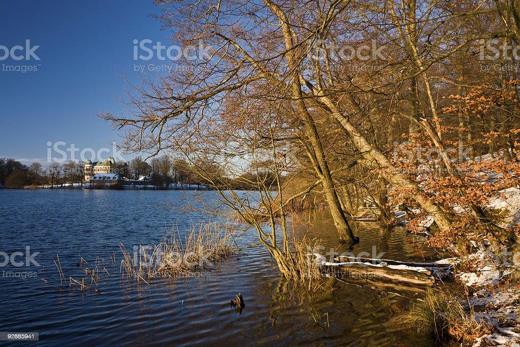 Lake castle stock photo