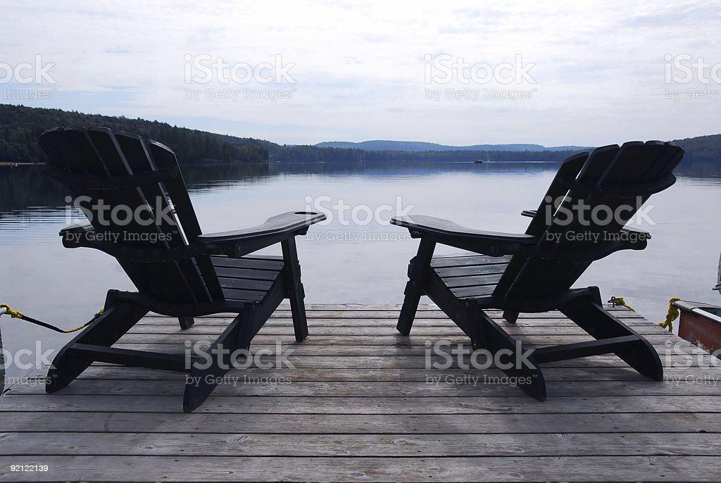Lake chairs royalty-free stock photo