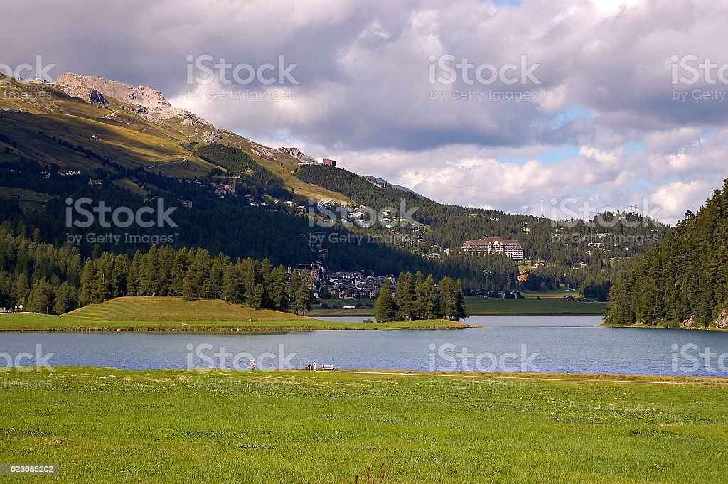 Lake Champfer - Engadine Switzerland stock photo