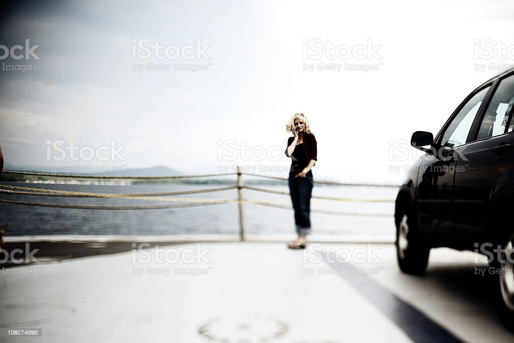 Lake Champlain Ferry and adult woman royalty-free stock photo