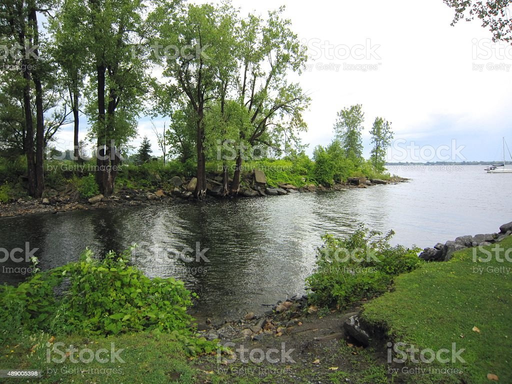 Lake Champlain inlet, Plattsburgh Harbor , New Yorl, stock photo
