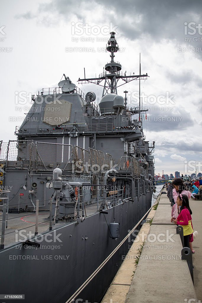 USS Lake Champlain moored at Lonsdale Quay stock photo