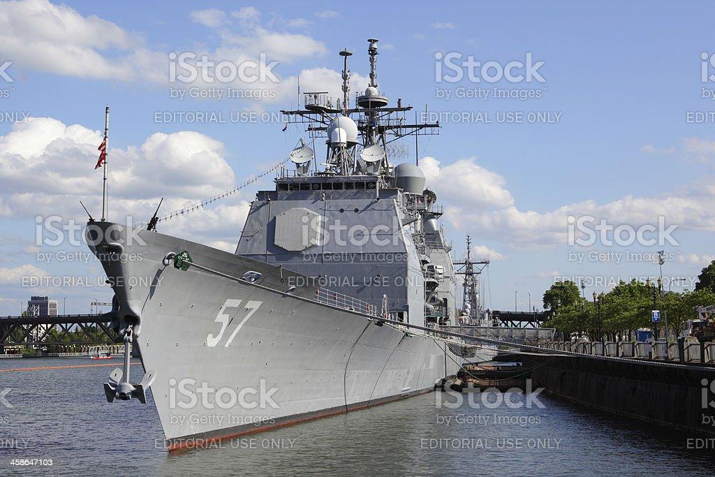 USS Lake Champlain. stock photo