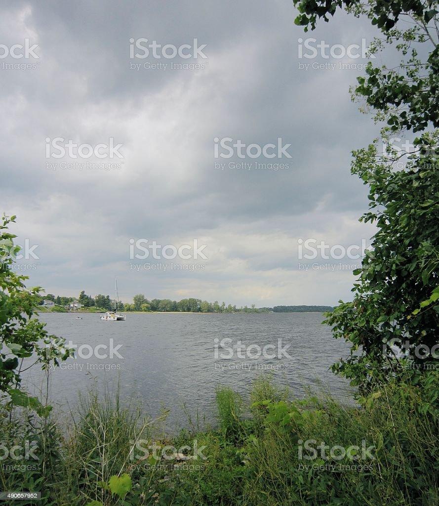 Lake Champlain, Plattsburgh, New York from the shore stock photo