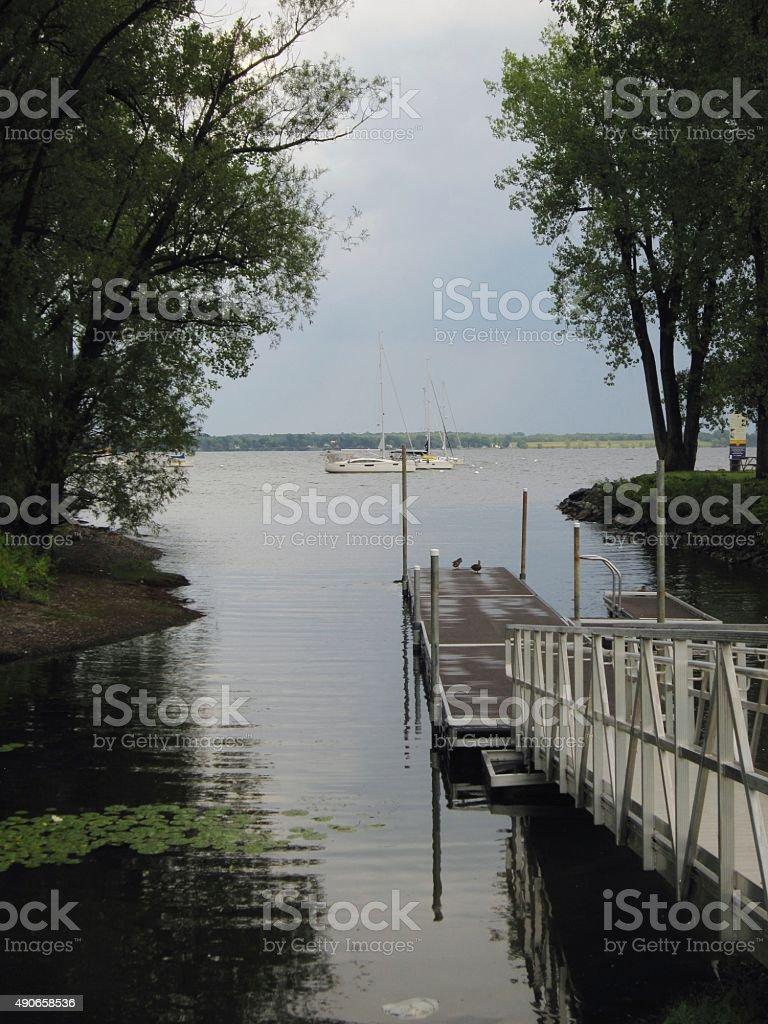 Lake Champlain, Plattsburgh, New York. stock photo