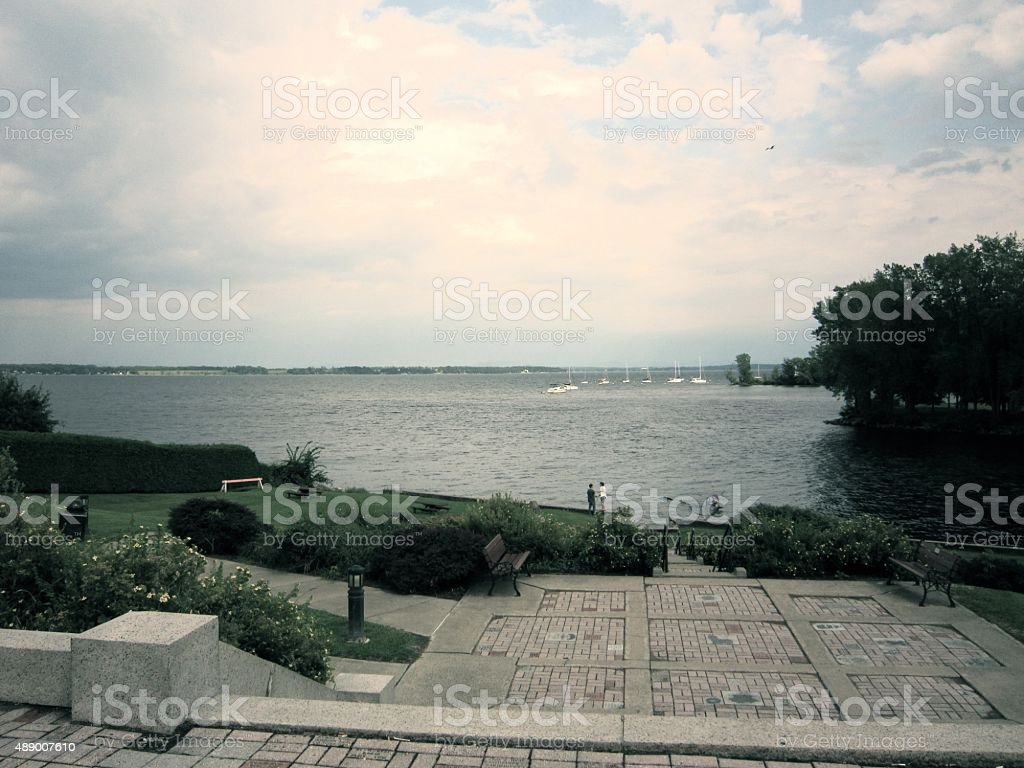 Lake Champlain, Plattsburgh, New York, plaza stock photo