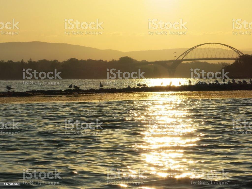 Lake Champlain Ticonderoga Bridge Sunrise Twinkling Water Reflection, Landbar, Birds stock photo