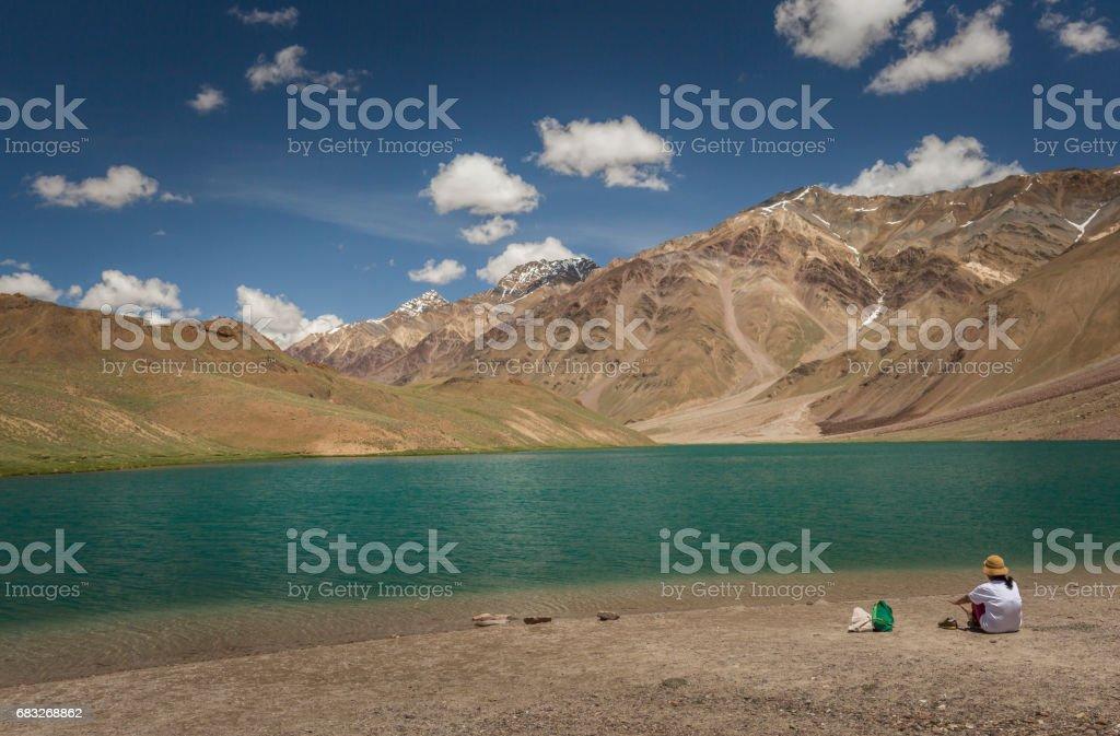 lake chandra tal stock photo