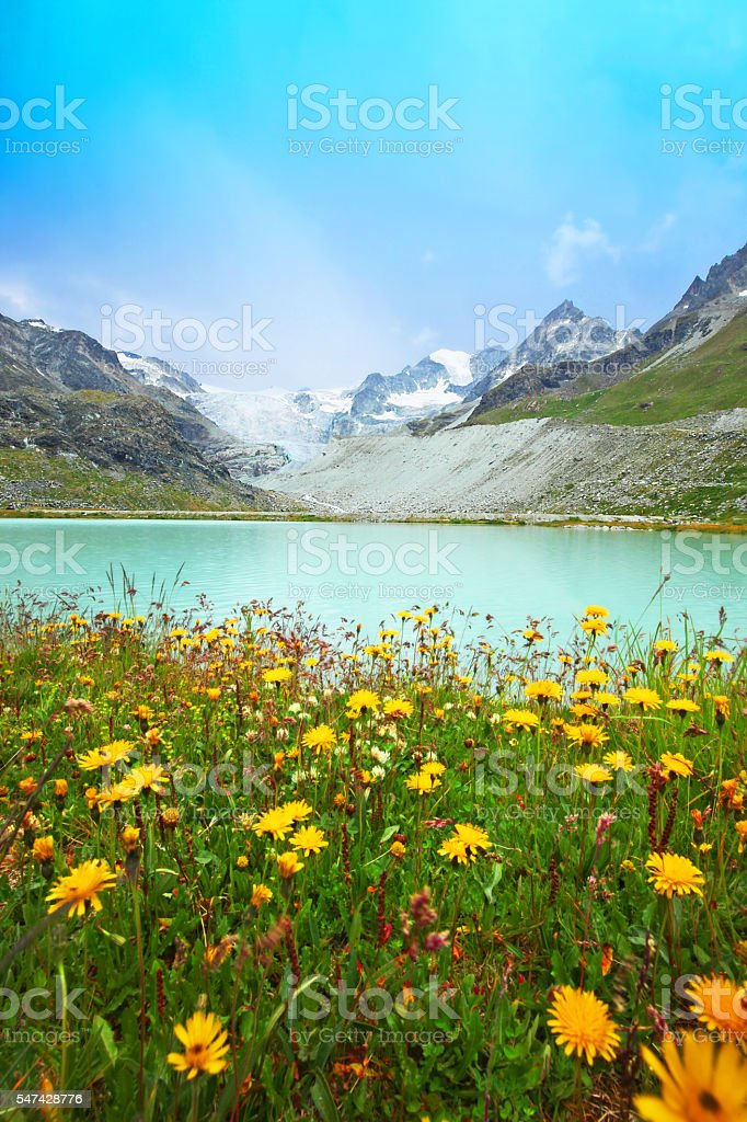 Lake Chateaupre at the Moiry Glacier in Swiss Mountains stock photo