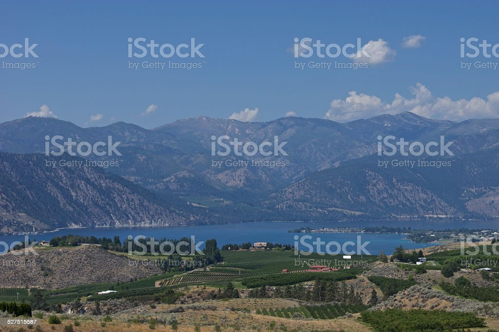 Lake Chelan's Rugged Orchards stock photo