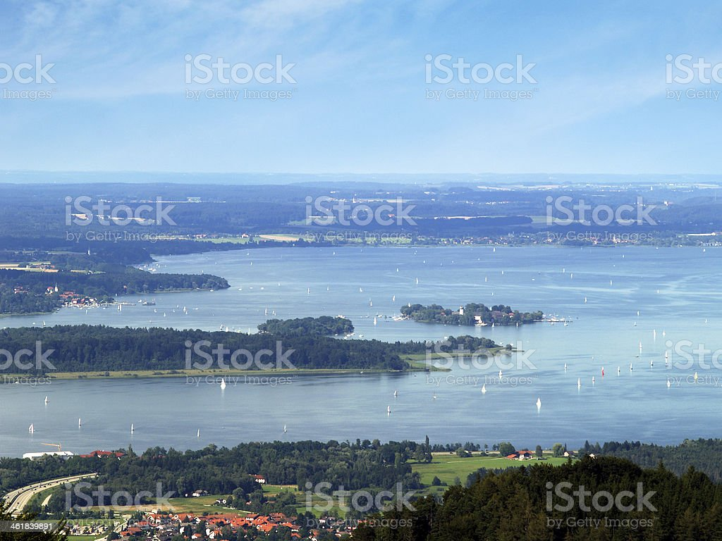 Lake chiemsee and islands stock photo