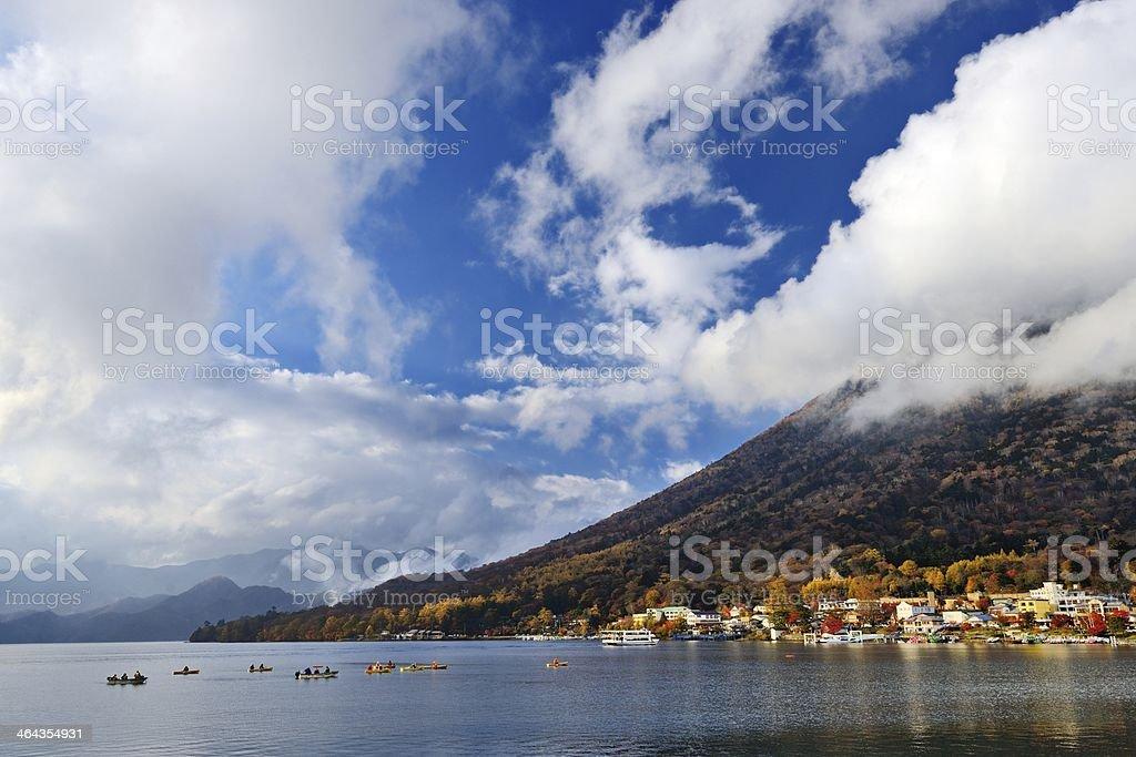 Lake Chuzenji and Mt. Nantai stock photo