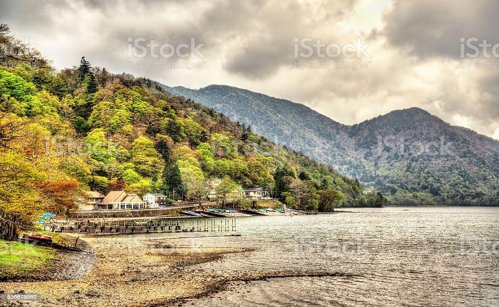 Lake Chuzenji in Nikko National Park stock photo