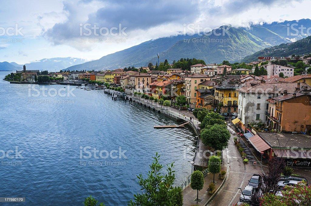 Lake Como and Gravedona town, Italy royalty-free stock photo