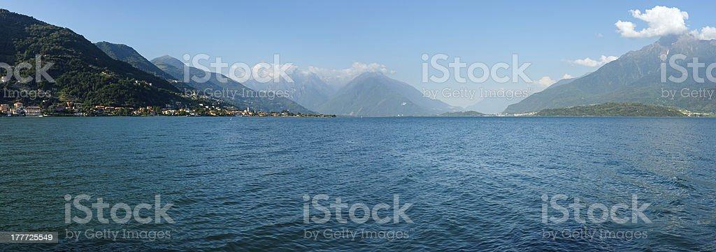 Lake Como (Italy) summer evening panorama. royalty-free stock photo