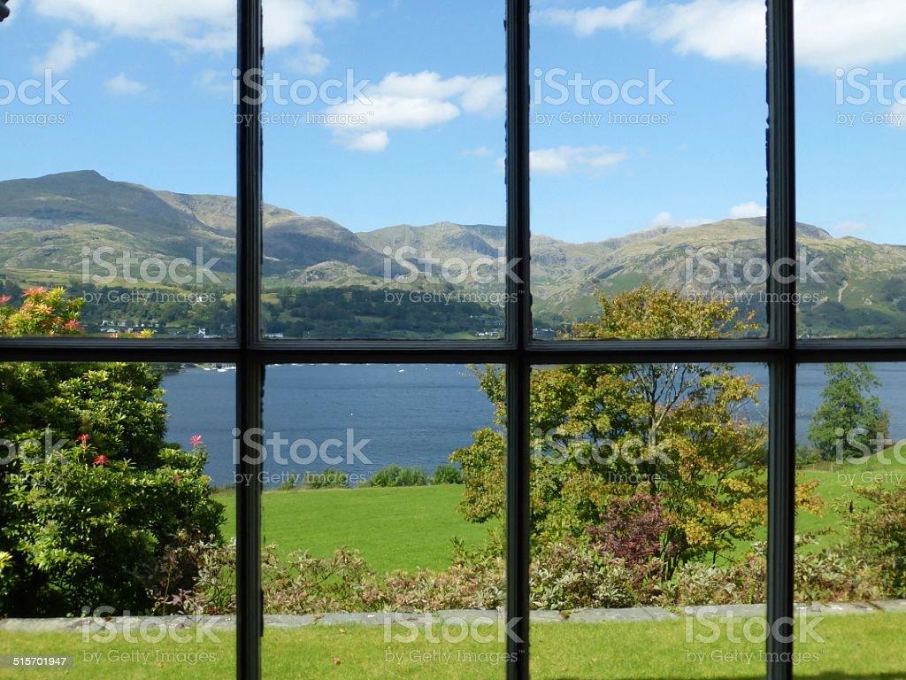 Lake Coniston Through the Window stock photo