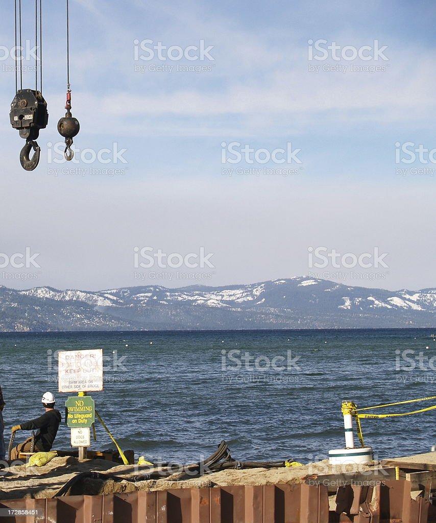 Lake Construction Site royalty-free stock photo