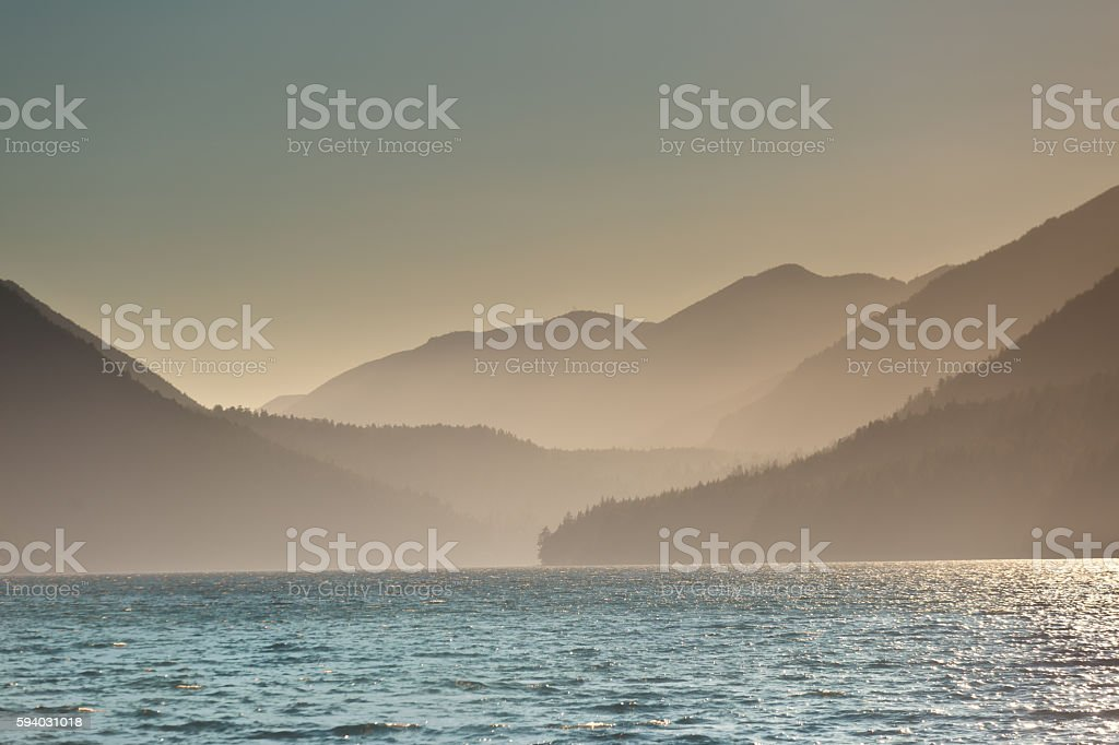 Lake Crescent Olympic National Park in Morning Fog stock photo