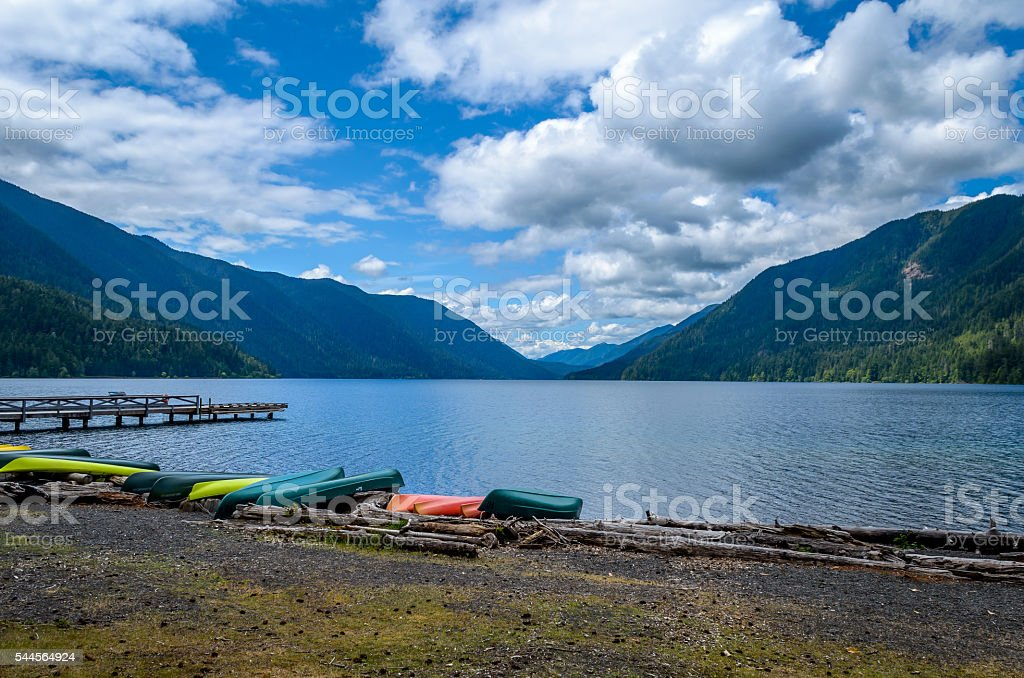 Lake Crescent, Olympic National Park stock photo