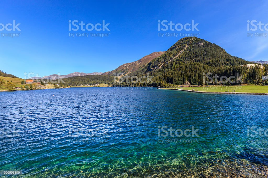 Lake Davos, Switzerland stock photo
