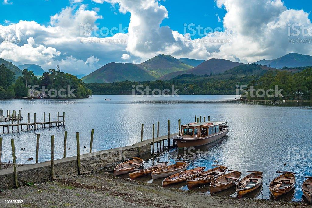 Lake Derwentwater in England stock photo