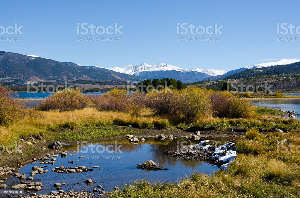 Lake Dillon in Autumn with Snow on the Mountains stock photo
