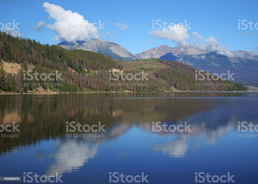 Lake Dillon reflecting mountains stock photo