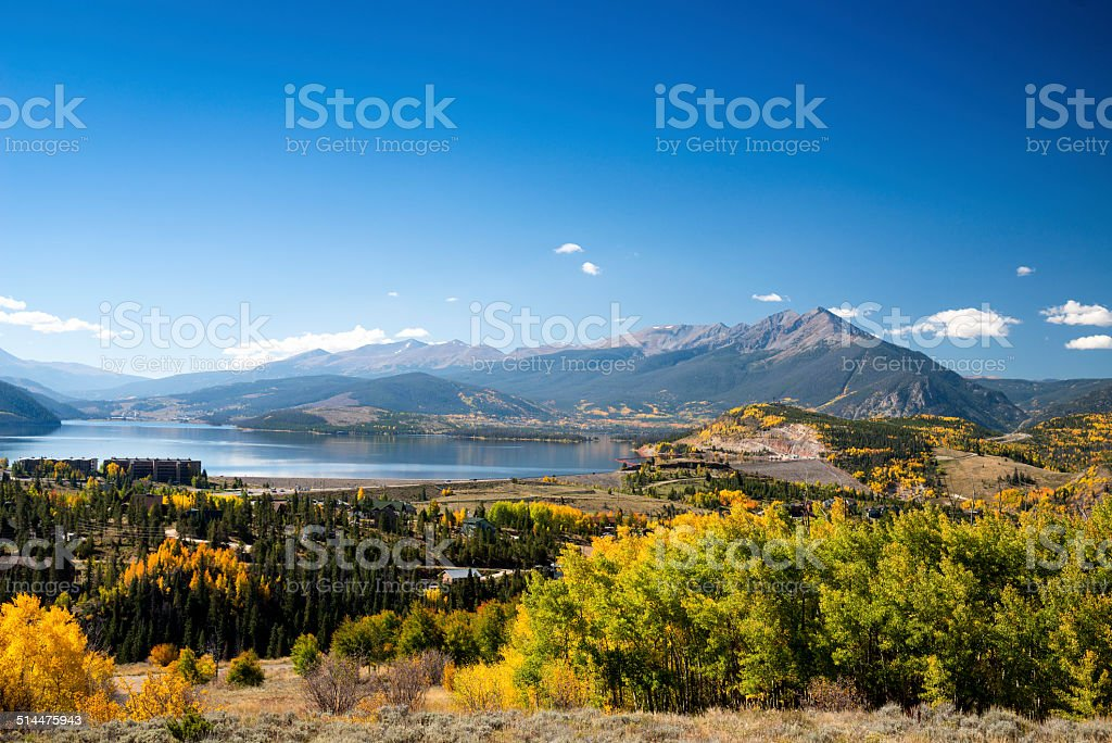 Lake Dillon, Summit County, Colorado in the Fall stock photo
