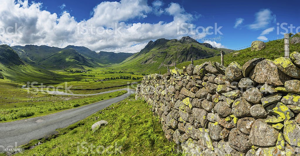Lake Distict idyllic mountain landscape dry stone walls Cumbria UK stock photo