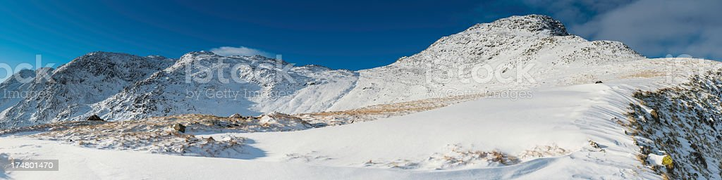 Lake District Bow Fell Crinkle Crags winter mountain panorama stock photo