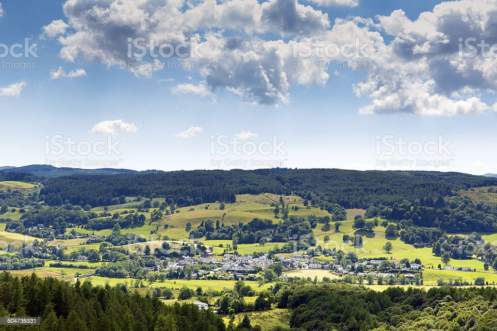 Lake District country scene Hawkshead village Cumbria England uk stock photo