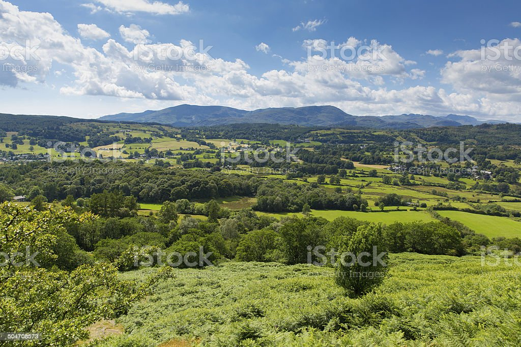 Lake District country view fields and mountains Hawkshead England uk stock photo