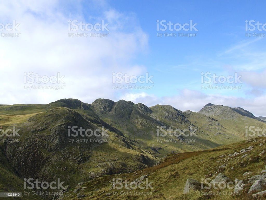 lake district crinkle crags stock photo