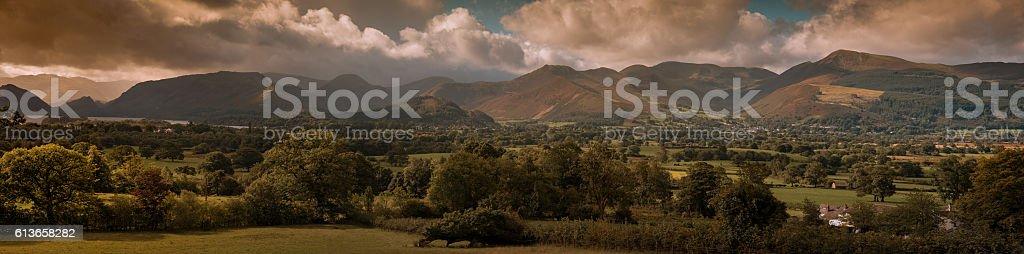 Lake District Derwentwater panorama stock photo